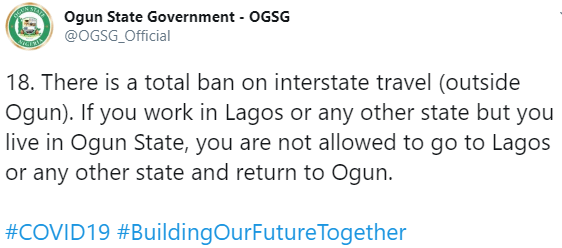 Ogun state residents who work in Lagos will not be allowed to leave the state - Ogun state government announces as lockdown ease begins on May 4