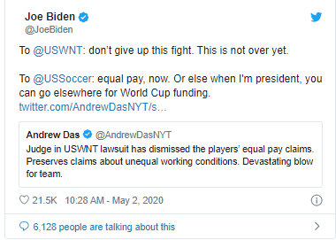 Joe Biden gives US Soccer ultimatum after judge throws out players request for equal pay