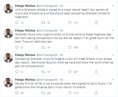 """Nigerians will always be ahead of Ghanaians if we don?t stop hating each other"" ?- Ghanaian singer, Palago Mufasa says"