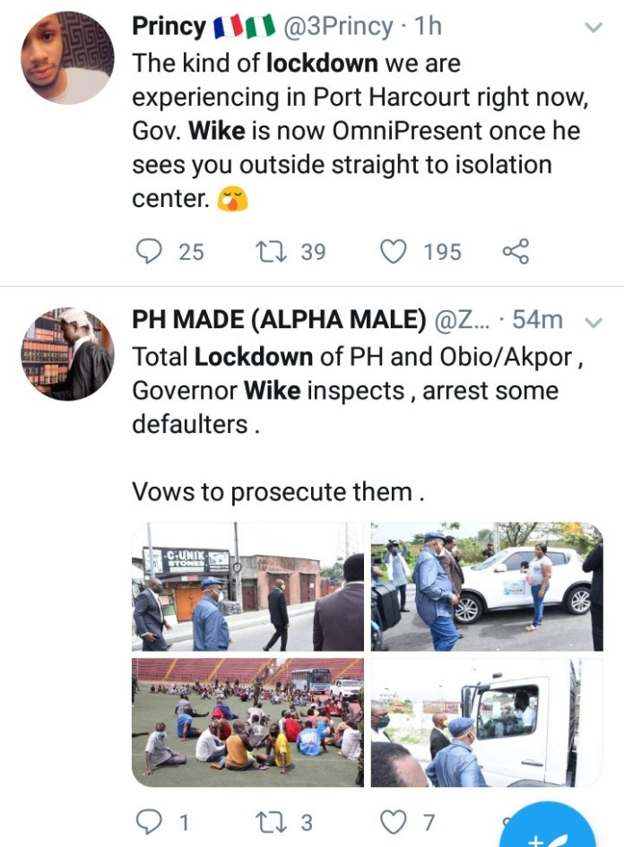 Scores arrested in Port Harcourt for violating lockdown as Governor Wike monitors level of compliance (photos)