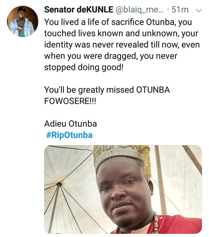 "#RIPOtunba trends as popular Nigerian punter dies after tweeting ""I don"