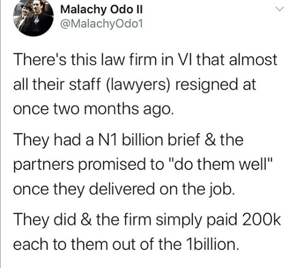 Twitter Stories: Nigerian lawyer narrates how his colleagues resigned from a Lagos law firm after winning a N1bn case
