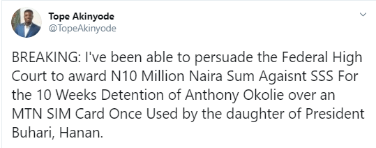 Update: Court awards N10m to man who sued DSS and Buhari