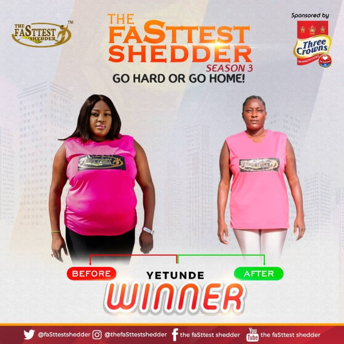 Yetunde Bajomo, emerge as winner of The faSttest shedder, Nigeria?s premier weight loss reality TV Show Season 3