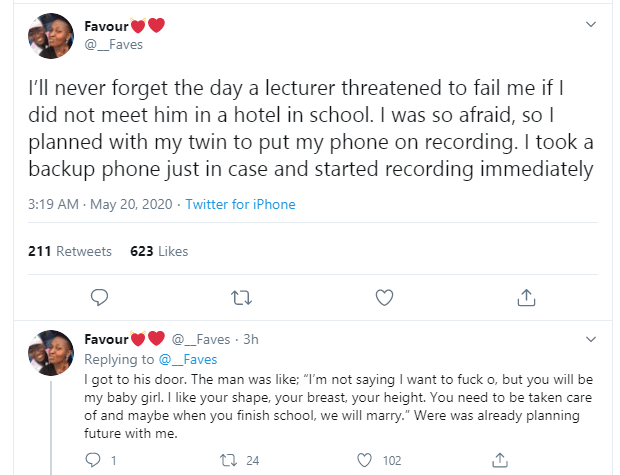 Nigerian lady narrates how she escaped getting failed by lecturer who wanted to have sex with her