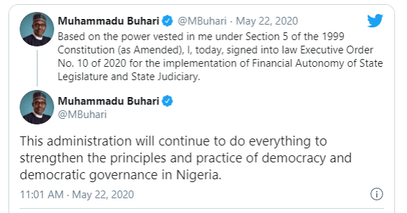 Buhari signs executive order implementing financial autonomy for state legislature and judiciary