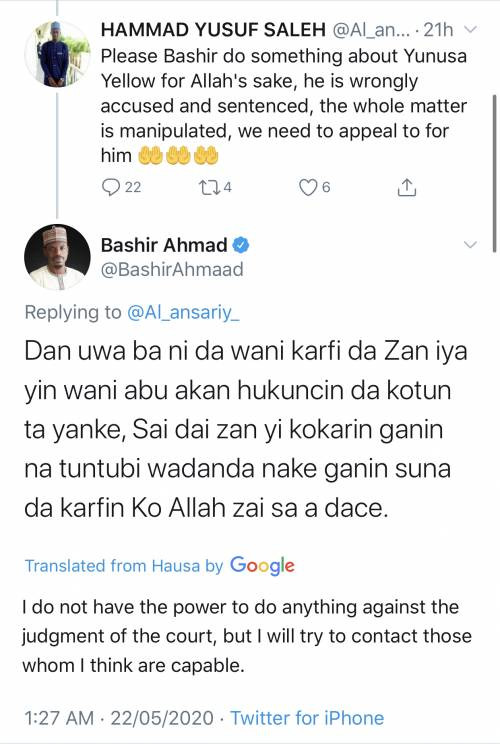 Presidential Aide, Bashir Ahmed reacts after being called out for promising to influence Yunusa Dahiru?s 26 year jail sentence