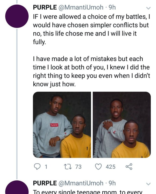 Mental health consultant narrates how she had her twin sons after being raped by her boss at 15; one of the twins replies