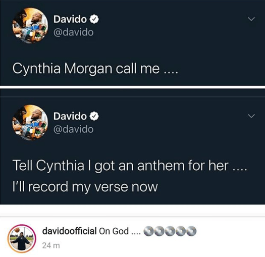 Davido reaches out to Cynthia Morgan, offers to help her