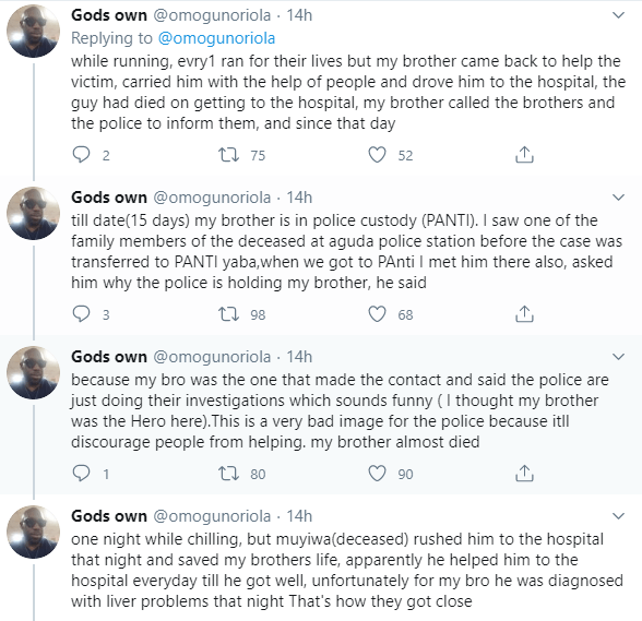 Twitter user seeks help as his brother has allegedly been detained by the police after trying to save murdered son of ex-Ondo military administrator