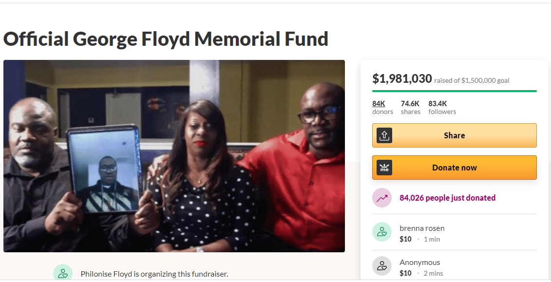 GoFundMe created for the memorial fund of George Floyd has raised over $1.9 million in less than 48 hours