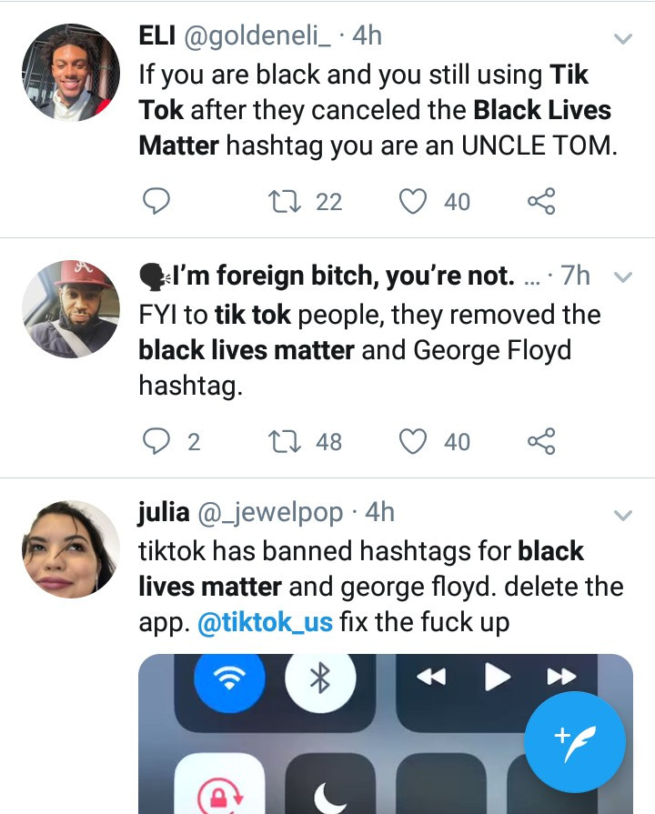 Tik Tok responds as Twitter users blast them for blocking #BlackLivesMatter and #GeorgeFloyd hashtags on the platform