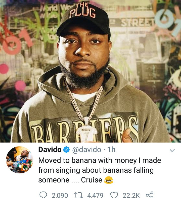 """""""I moved to banana with money I made from singing about bananas falling on someone"""" Davido says after he got a house in Banana Island"""