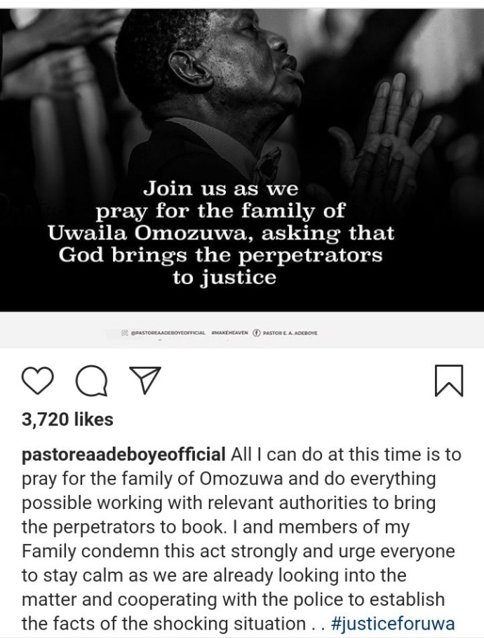 5ed4259a9f1f8 Pastor EA Adeboye reacts to the rape and murder of UNIBEN student, Uwa Omozuwa, in one of the branches of his church