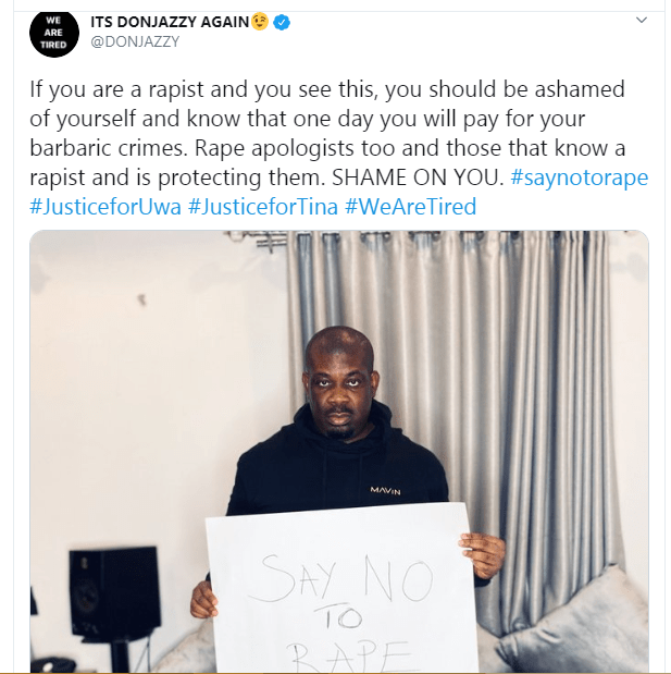 One day you will pay for your barbaric crimes - Don Jazzy slams rapists and their enablers