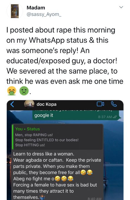 Chat shows medical doctor joking about rape and blaming women for causing rape by what they wear