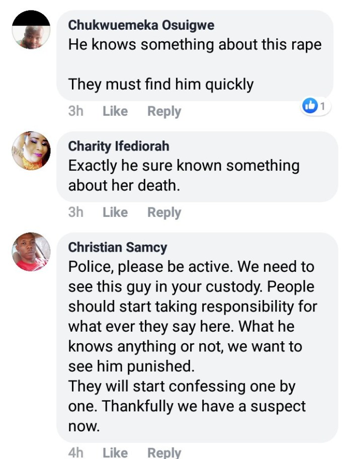 """He knows something"" Facebook users call on police to investigate a man after he dropped a hint while gloating over the death of Uwa Omozuwa"