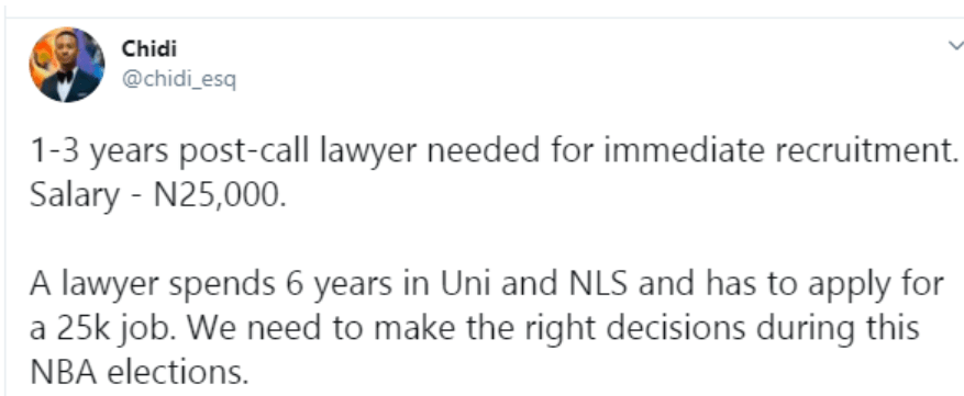 Nigerian lawyer expresses disappointment with a N25k job offer