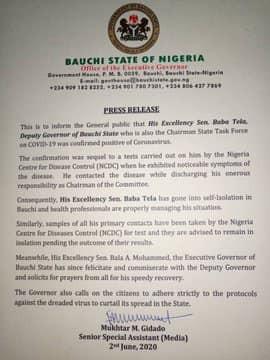 Bauchi Deputy Governor, Baba Tela tests positive for Coronavirus