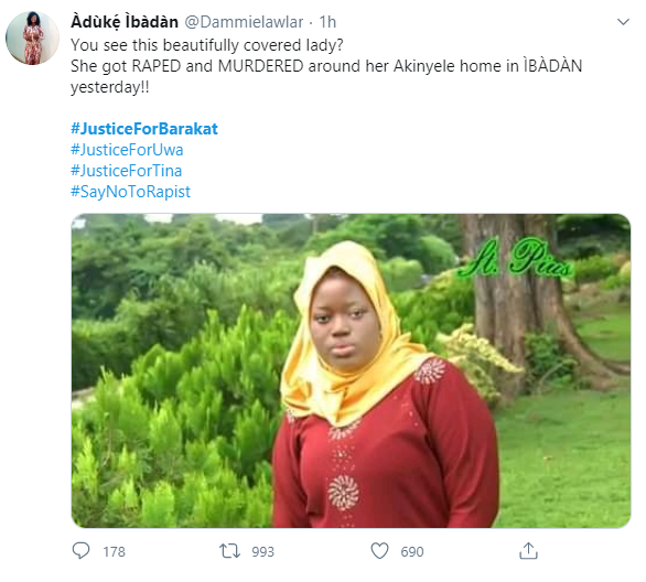 Justice for Barakat trends as 18-year-old is murdered at home in Ibadan