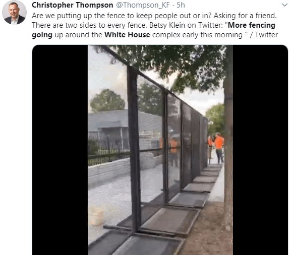 Trump builds fence around White House following protests (video)