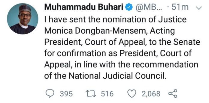Buhari nominates Dongban-Mensem as Appeal Court President