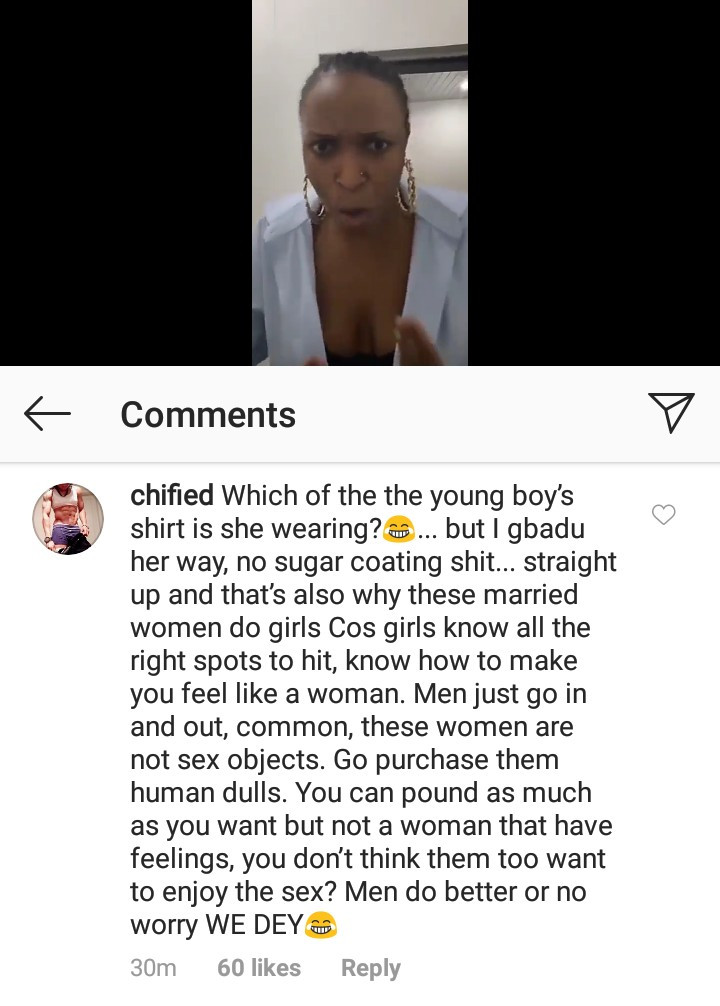 Chified tells men to satisfy their wives sexually or women will do it for them