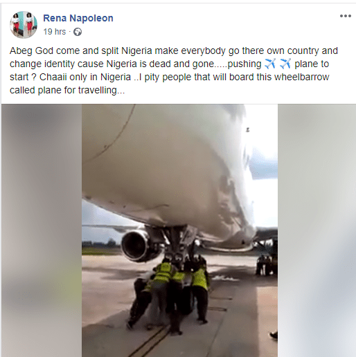 Wonders shall never end - Man expresses surprise at seeing Nigerian airport officials push an airplane (video)