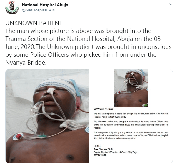 Unknown man brought in to Abuja hospital by policemen