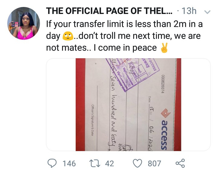 We are not mates - Thelma releases receipts as she shades Tacha