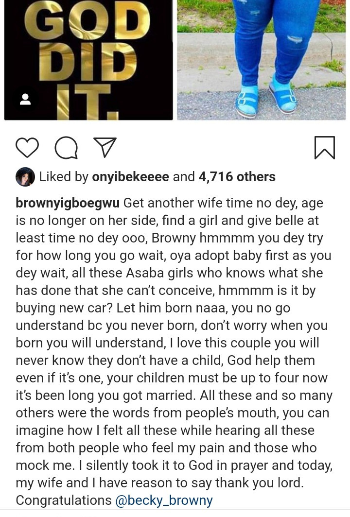 Brown Igboegwu narrates mockery, as wife welcome a child after 10 years