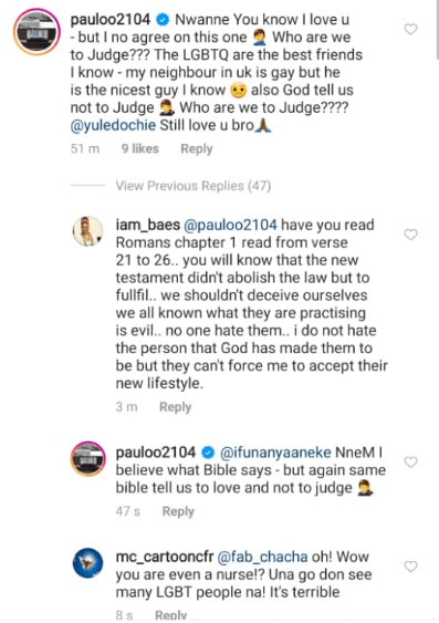 Paul O disagrees with Yul Edochie after the actor shared a Bible study manual denouncing LGBTQ lifestyle