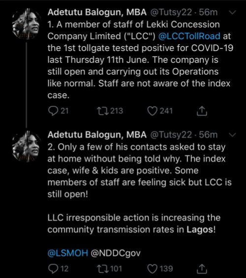 Staff who works at Lekki toll gate tests positive for COVID-19 yet the company is still carrying out operations as normal - Mum accuses LCC of being irresponsible