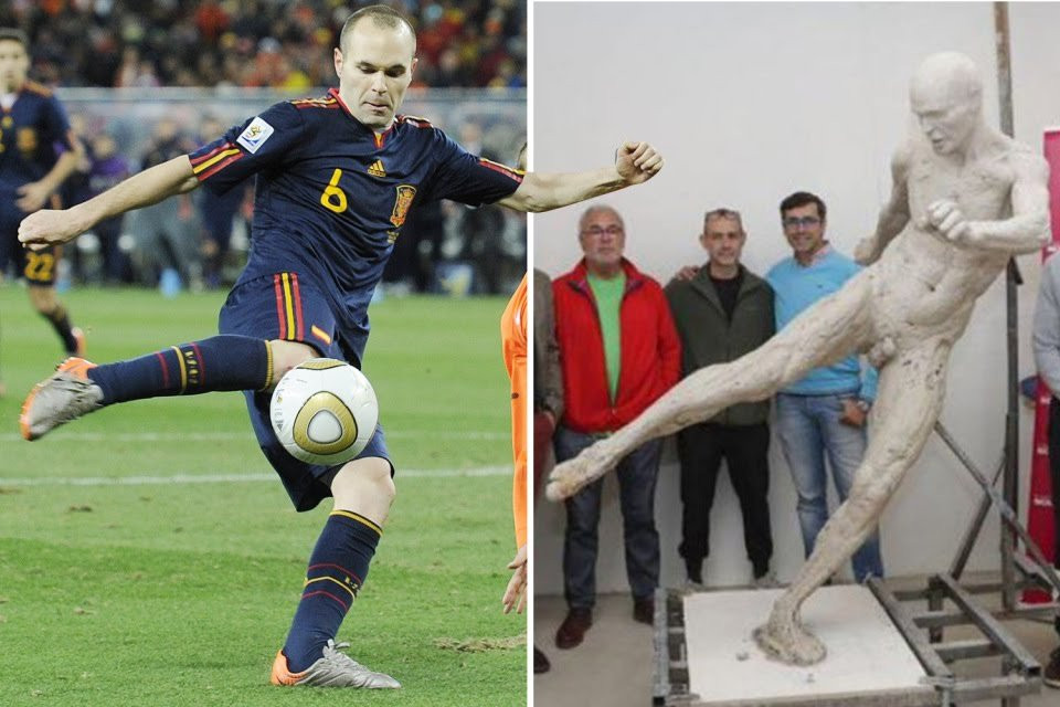Spain honour Barcelona legend Iniesta with naked statue for 2010 World Cup winning goal (photos)