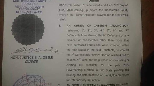 Court restrains Obaseki from participating in PDP primaries