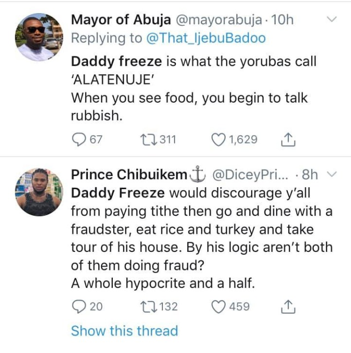What I will tell you will make you drink Sniper - Daddy Freeze reacts to being called out for dining with Hushpuppi after criticizing Pastors (videos)