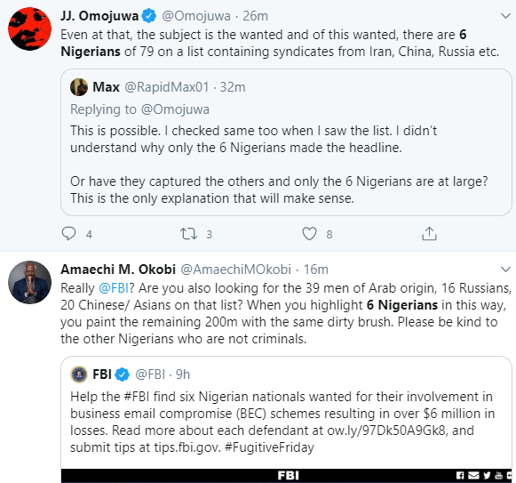 Nigerians condemn FBI for focusing on 6 Nigerians on the wanted list when there are more numbers of suspects from other nationality