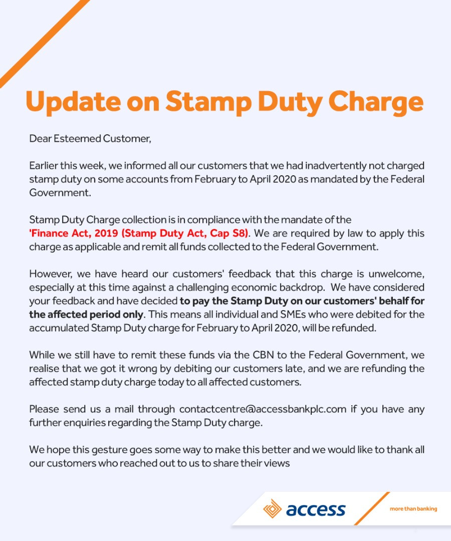 Access Bank decides to pay stamp duty charge for three months on behalf of its customers