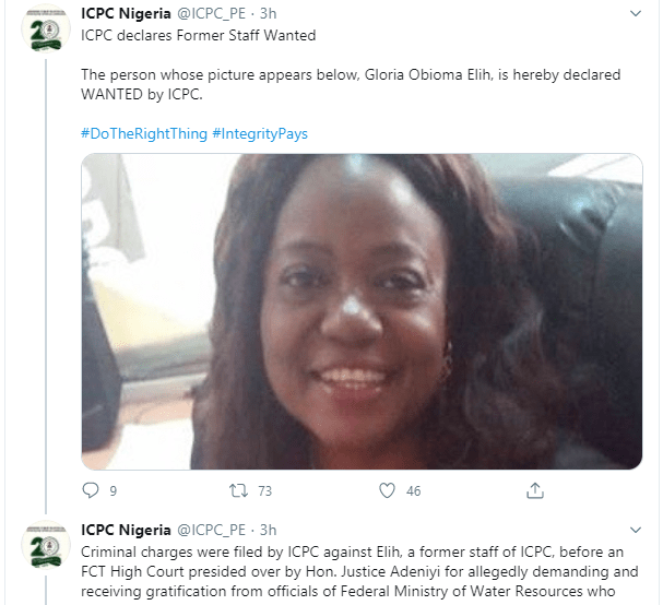 ICPC declares former staff wanted for demanding and receiving gratification