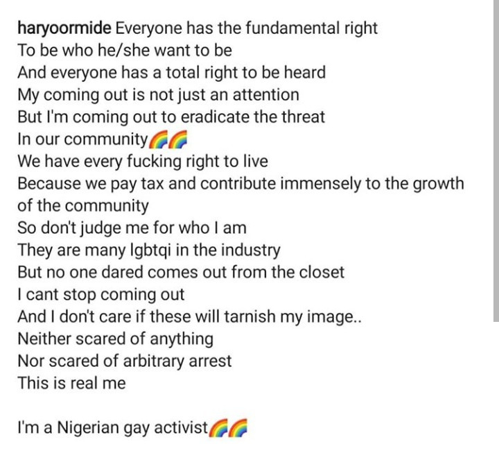 """""""We have every right to live because we pay tax and contribute to society"""" Gay Chef, Ayomide says as he explains why he came out"""