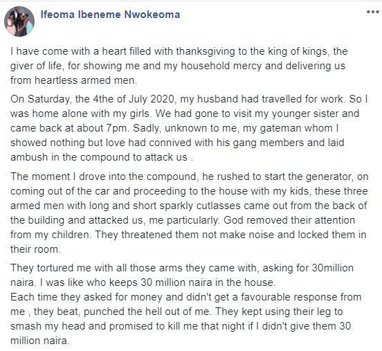 Mum-of-two narrates how her gateman planned an attack on her and her kids, demanded 30 million Naira, and strangled her with a rope