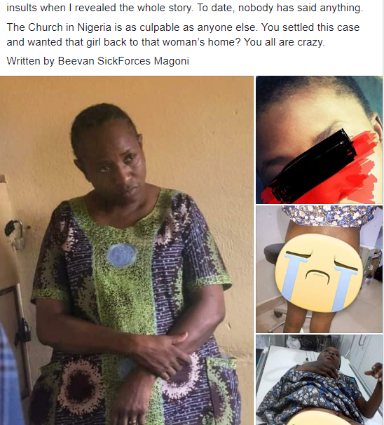 Deaconess arrested for allegedly subjecting her ward to extreme torture, including burning her vagina and butt with lighter and inserting hot sticks before rubbing pepper in it (photos)