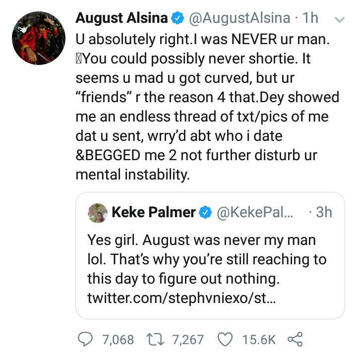 August Alsina slams Keke Palmer following her reply to a fan who wanted to know if she and August dated years ago
