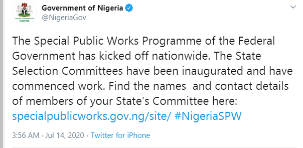 FG kicks off special works programme suspended by national assembly