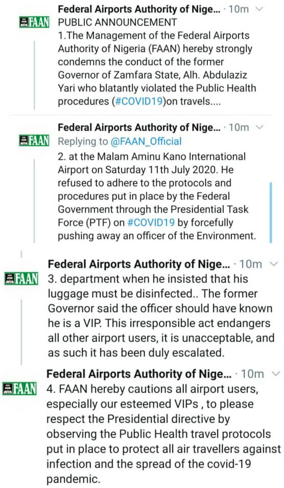 FAAN calls out ex-Zamfara state gov, Abdulaziz Yari, for allegedly flouting COVID-19 guidelines at the Aminu Kano airport