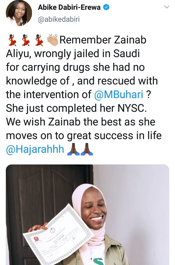 Zainab Aliyu, the Nigerian lady who was rescued after being wrongly jailed in Saudi Arabia for carrying drugs, completes NYSC