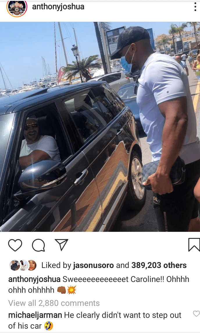 Anthony Joshua and Tyson Fury bump into each other while holidaying in Marbella (photo)