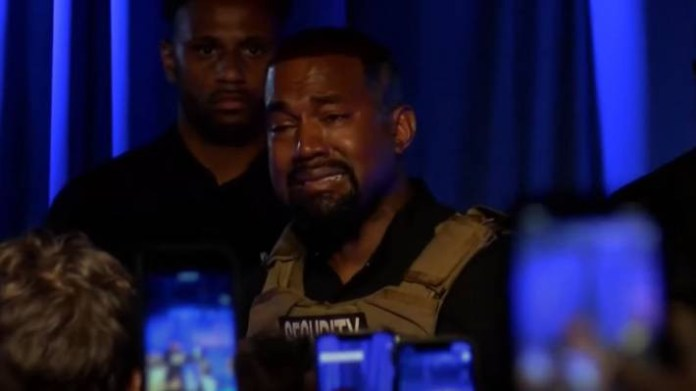 Kanye West breaks down in tears at his first presidential campaign while speaking about abortion and?how he almost encouraged Kim to abort their daughter, North (Video)