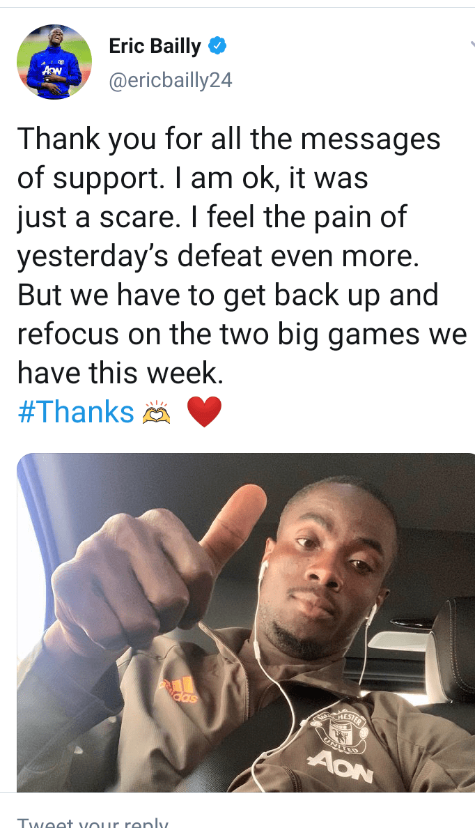 """It was just a scare"" - Man .U defender Eric Bailly gives update after being hospitalized following head injury"