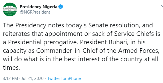 Only Buhari can sack Service Chiefs - Presidency replies Nigerian Senate